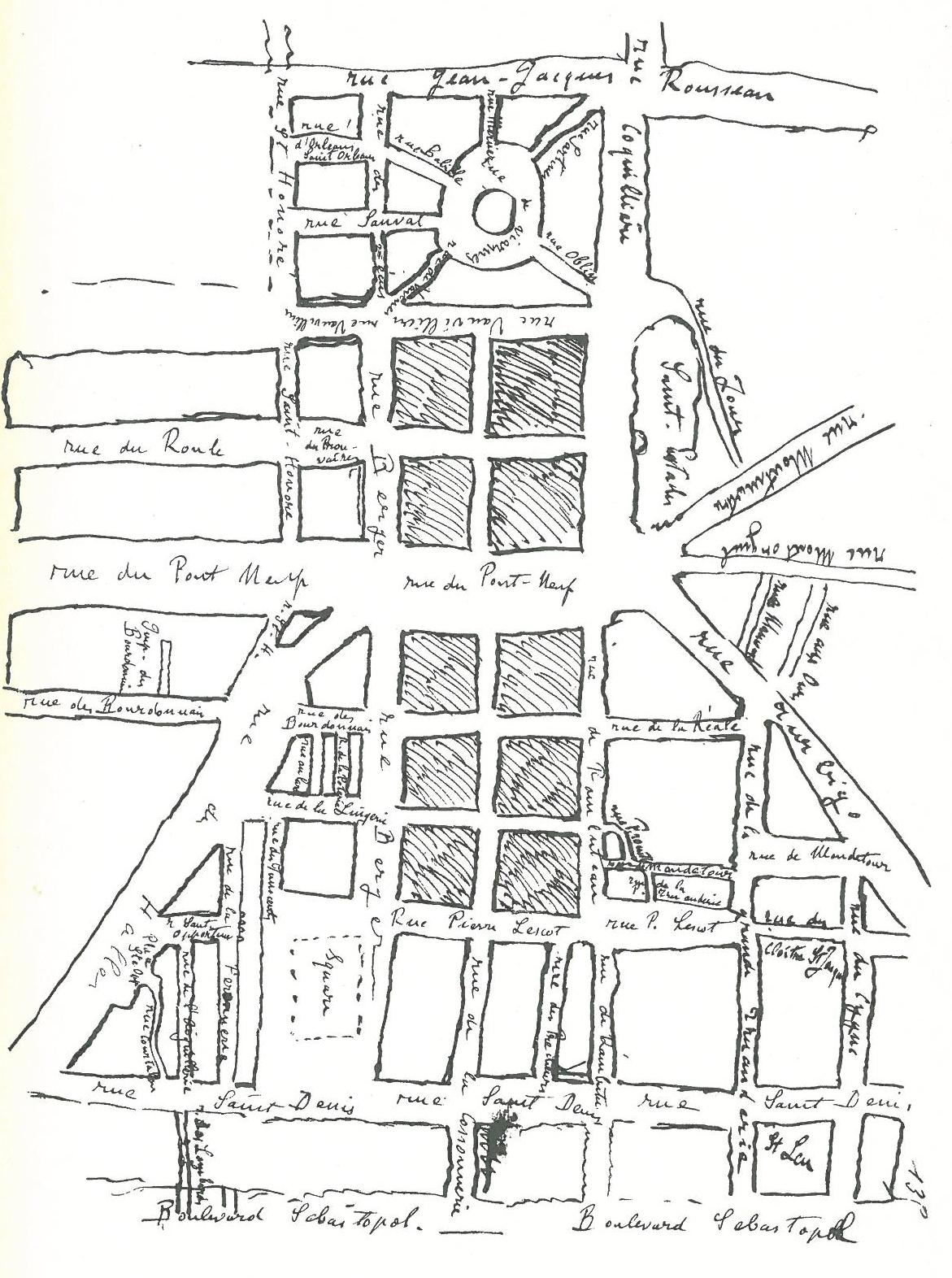 """Image - <em>Le Ventre de Paris</em> – Les Maigres et les Gras dans les Halles de Baltard"""" /></a></p> </div><h3>Commentaires</h3><p>Comme l'écrit Zola au début de l'Ebauche, «l'idée générale est: le ventre». Pour planter au cœur de Paris «les Halles où la nourriture afflue, s'entasse pour rayonner sur les quartiers divers», le romancier a utilisé de nombreux croquis des lieux dessinés à des échelles différentes, depuis la topographie détaillée de la halle aux poissons jusqu'au plan général du quartier, en passant par la cartographie des pavillons alignés géométriquement. A chaque dessin correspondent des stratégies de composition descriptive et narrative: une scène à faire, comme telle altercation entre une marchande et un inspecteur, ou un parcours à jalonner, comme cette promenade inaugurale du peintre Claude Lantier et de Florent, le bagnard évadé et affamé, en quête de son frère Quenu, richement installé dans sa charcuterie rutilante. Au début de l'année 1872, Zola effectue un reportage minutieux dans le ventre des Halles, de jour comme de nuit, par pluie comme par beau temps, de l'aube au crépuscule, crayon à la main. Il dessine alors ce plan général des Halles, à la fois cadré et centré, qui met en relief les deux grands carrefours en vis-à-vis qui emmurent Florent au chapitre I. En plus des fonctions descriptives et narratives, le croquis sert à construire l'échiquier des positions qui distribue les fronts de guerre, à partir de la rue Pirouette, où loge la terrible Mlle Saget, vieille fille qui tient les fils des cancans et des dénonciations qui planent sur le quartier. Ainsi, le terrain de bataille oppose-t-il les Gras, les Maigres, les transfuges et les déclassés qui migrent d'une catégorie à l'autre, selon un renversement carnavalesque qui nourrit la satire féroce de Zola contre l'honnêteté repue et hypocrite de la bourgeoisie commerçante.</p><h3>Auteur</h3><p>Emile Zola</p><h3>Date</h3><p>1872</p><h3>Origine</h3><p><em>Le Ventre de Paris</em>, BnF, Mss, N"""