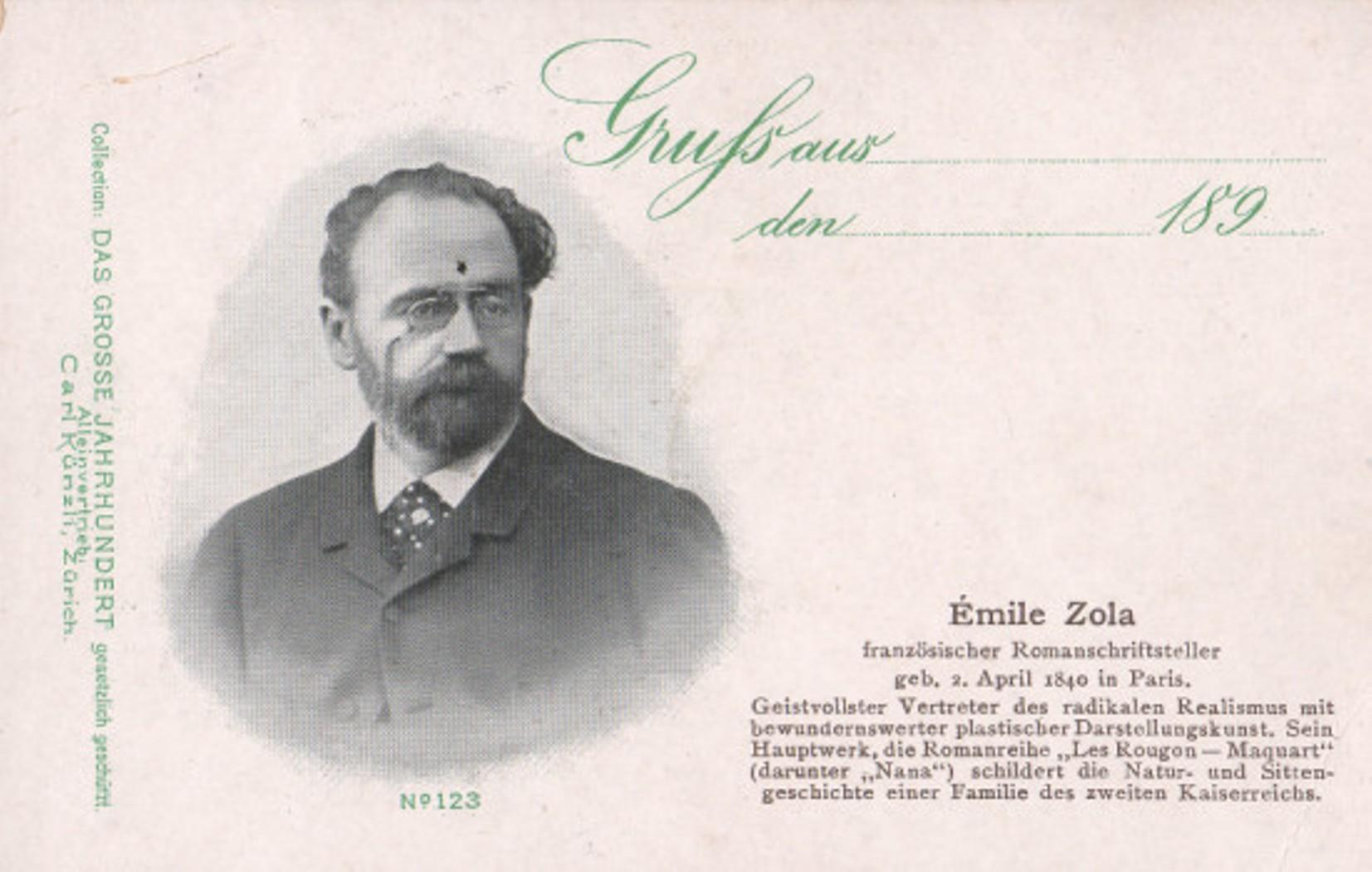 Image - Carte postale suisse représentant Emile Zola