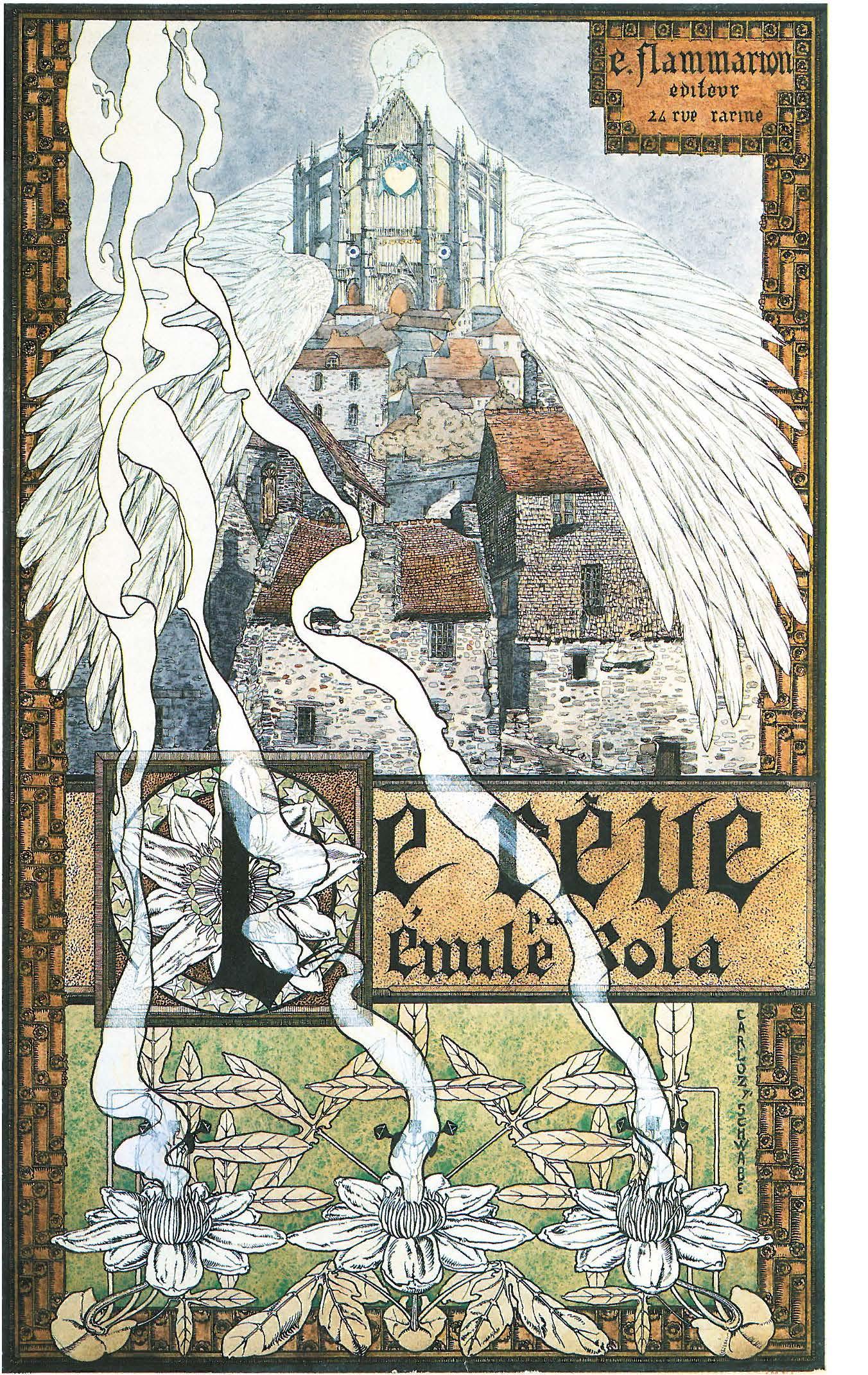 """Image - Couverture du <em>Rêve</em>"""" /></a></p> </div><h3>Commentaires</h3><p>Couverture du <em>Rêve, </em>aquarelle, plume, encre de Chine, rehauts de gouache et d'or sur carton. Selon J.-D. Jumeau-Lafond """"Véritable synthèse du roman de Zola, cette page allie la minutie d'exécution d'inspiration médiévale, la force visionnaire et la rigueur décorative. L'impression sur soie d'un certain nombre d'exemplaire de cette couverture devait en accentuer la préciosité.""""</p><h3>Auteur</h3><p>Carlos Schwabe</p><h3>Date</h3><p>1891</p><h3>Origine</h3><p>Musée du Louvre, Cabinet des dessins ; reproduit dans <em>Carlos Schwabe, symboliste et visionnaire</em>, de Jean-David Jumeau-Lafond, Paris, 1994, p. 34</p><h3>Mots-clés</h3><ul class="""