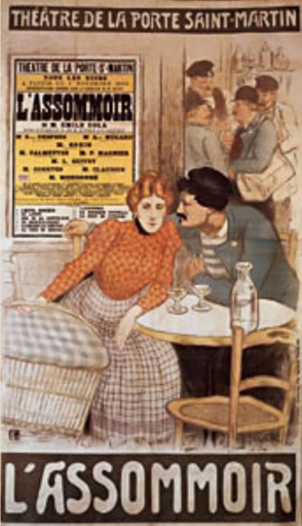 """Image - <em>L'Assommoir</em> au théâtre"""" /></a></p> </div><h3>Commentaires</h3><p>Steinlen, né à Lausanne le 10 novembre 1859, quitte la Suisse à 20 ans et se fait naturaliser français en 1901. Introduit au Chat noir par Willette, il en dessine la célèbre affiche. Peintre et dessinateur, de tendance libertaire il représente la vie des montmartrois et celle des prolétaires. Il illustrera de nombreux auteurs dont Zola avec lequel il entretenait de bonnes relations. Deux ans après sa parution, <em>L'Assommoir</em> fut adapté au théâtre par William Busnach et Gustave Gastineau, avec l'aide de Zola. La première eut lieu le 18 janvier 1879, et connut un vif succès. Steinlen dessina l'affiche du théâtre de la Porte St Martin célèbre pour sa mise en abyme.</p><h3>Auteur</h3><p>Théophile, Alexandre Steinlein</p><h3>Date</h3><p>1900</p><h3>Mots-clés</h3><ul class="""