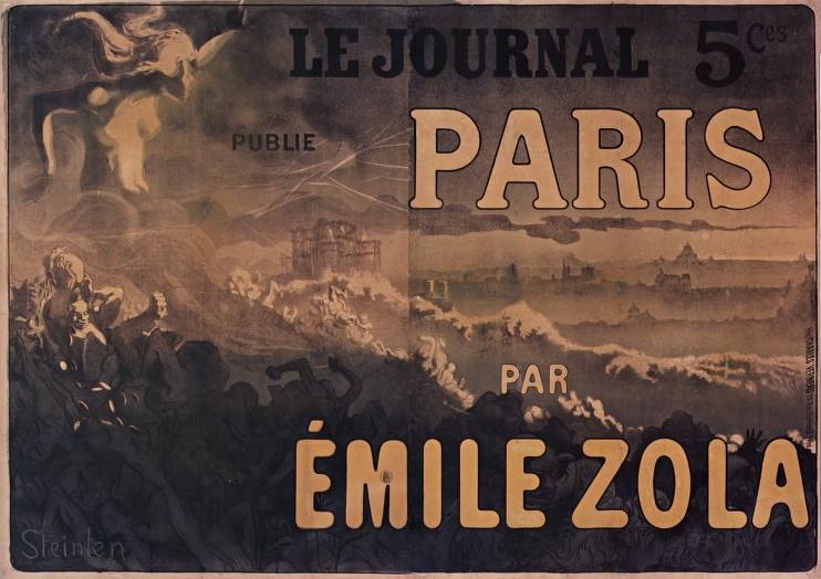 """Image - Affiche pour la parution de <em>Paris </em>dans <em>Le Journal</em>"""" /></a></p> </div><h3>Commentaires</h3><p><em>Paris</em> paraît en feuilleton dans <em>Le Journal</em>, du 23 octobre 1897 au 9 février 1898. Le roman sort chez Fasquelle le 1er mars 1898.Steinlen était un peintre et dessinateur de tendance libertaire, intime du Chat noir dont il en dessine la célèbre affiche. Il illustrera de nombreux auteurs, dont Zola avec lequel il entretenait de bonnes relations. Proche des milieux populaires montmartrois dont il dessine la vie quotidienne, c'est tout naturellement qu'il se charge de dessiner l'affiche de ce roman dont l'intrigue principale se déroule à Montmartre. On peut voir notamment le Sacré-Coeur alors en construction ainsi que l'évocation, au premier plan, d'un Paris bouleversé par la violence et l'anarchie.</p><h3>Auteur</h3><p>Théophile Alexandre Steinlen (1859-1923)</p><h3>Date</h3><p>1897</p><h3>Mots-clés</h3><ul class="""