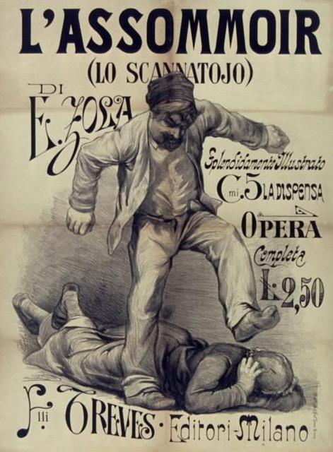 """Image - Affiche pour la traduction de <em>L'Assommoir</em> en Italie"""" /></a></p> </div><h3>Commentaires</h3><p>Les premières traductions des romans de Zola en Italie paraissent à Milan. L'éditeur Treves est l'un des plus actifs. Il publie ainsi la traduction de <em>L'Assommoir</em> en 1878, sous le titre <em>Lo scannatojo</em>. La traduction est effectuée par Emmanuele Rocco.Une autre traduction paraîtra l'année suivante chez Pavia, toujours à Milan, avec une traduction du linguiste Policarpo Petrocchi qui utilise la langue parlée de la Toscane pour rendre l'argot parisien.</p><h3>Auteur</h3><p>Non déterminé</p><h3>Date</h3><p>1878</p><h3>Mots-clés</h3><ul class="""