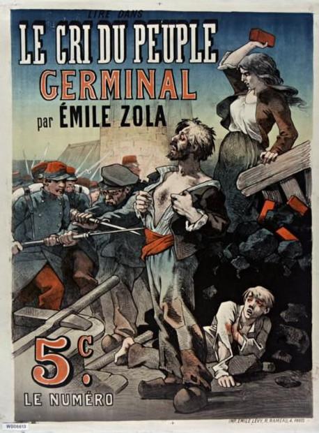 """Image - Affiche pour la parution de <em>Germinal </em>dans <em>Le Cri du Peuple</em>"""" /></a></p> </div><h3>Commentaires</h3><p><em>Germinal</em> paraît en feuileton dans le <em>Gil Blas</em>, du 26 novembre 1884 au 25 février 1885. Il est ensuite repris dans <em>La Vie populaire</em>, du 2 avril au 23 juillet 1885, dans <em>Le Cri du Peuple</em>, du 14 juillet au 21 décembre, dans <em>Le Peuple de Bruxelles</em>, à partir du 13 décembre et dans <em>Le Petit Rouennais</em>, à partir du 27 décembre. Le roman sort en librairie chez Charpentier le 2 mars 1885.L'affiche représente les chapitres III et IV de la sixième partie au cours desquels les mineurs affrontent la troupe qui garde le Voreux, Maheu s'offrant aux baillonnettes et aux balles des soldats, tandis que Catherine, sa fille, résiste à l'assaut. Elle est similaire à l'affiche du <em>Gil Blas </em>dans lequel le roman est d'abord paru, du 26 novembre 1884 au 25 février 1885.</p><h3>Auteur</h3><p>Non déterminé</p><h3>Date</h3><p>1885</p><h3>Mots-clés</h3><ul class="""
