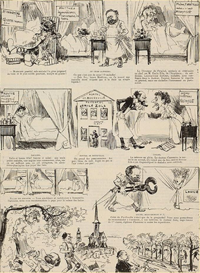 """Image - <em>La Joie de vivre</em> ou le bonheur de se pendre"""" /></a></p> </div><h3>Commentaires</h3><p>Albert Robida illustre différentes scènes de <em>La Joie de vivre</em>, paru en 1884 : Monsieur Chanteau cloué dans son fauteuil à cause de la goutte, la mort du chien Matthieu, la maladie et la mort de Madame Chanteau, la névrose de Lazare Chanteau et, à la fin, la pendaison de la bonne de la maison.</p><h3>Auteur</h3><p>Albert Robida (1848-1926)</p><h3>Date</h3><p>15 mars 1884</p><h3>Origine</h3><p><em>La Caricature</em>, 15 mars 1884</p><h3>Mots-clés</h3><ul class="""