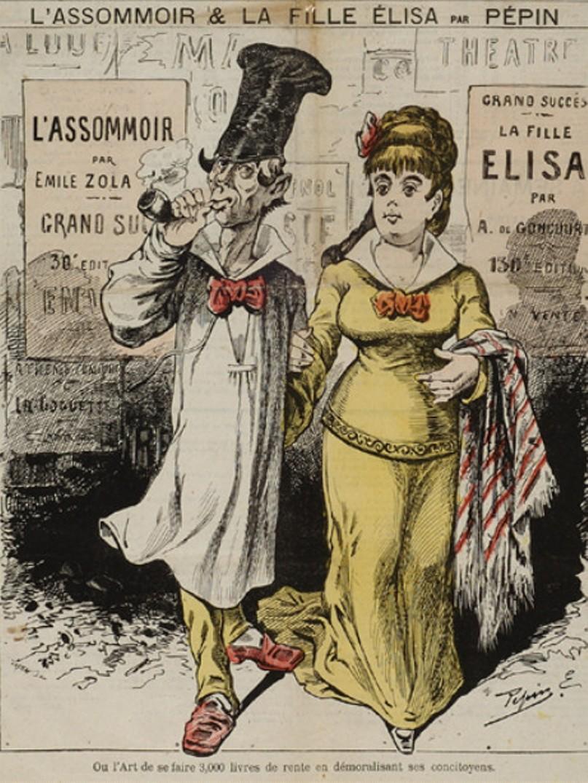 """Image - <em>L'Assommoir</em> et <em>La Fille Elisa</em> – Où l'art de se faire 3000 livres de rentes en démoralisant ses contemporains"""" /></a></p> </div><h3>Commentaires</h3><p>En 1877, paraissent <em>L'Assommoir</em> et <em>La Fille Elisa</em> qui choquent une partie de l'opinion mais rencontrent un grand succès d'édition. La caricature représente sans doute Coupeau en ouvrier et la fille Elisa en femme de petite vertu. La légende fait allusion à l'issue tragique des deux romans et à l'argent que Zola et les Goncourt ont retiré de ces publications.</p><h3>Auteur</h3><p>Pépin (Edouard Guillaumin, dit) (1842-?)</p><h3>Date</h3><p>1er juillet 1877</p><h3>Origine</h3><p><EM>Le Grelot</em>, 1er juillet 1877 ; Musée Carnavalet - Fonds Céard</p><h3>Mots-clés</h3><ul class="""