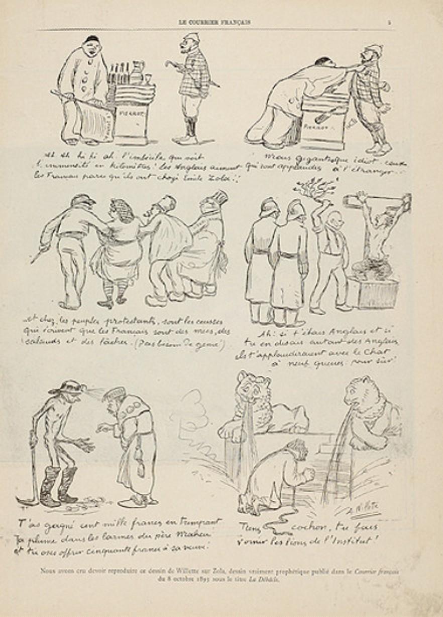 """Image - <em>La Débâcle</em>"""" /></a></p> </div><h3>Commentaires</h3><p>Cette série de dessin dénonce la parution de <em>La Débâcle</em> ainsi que l'ambition de Zola d'entrer à l'Académie française. Ces dessins seront repris dans la presse au moment de l'Affaire Dreyfus, en 1898, lorsque l'écrivain s'exilera en Angleterre.</p><h3>Auteur</h3><p>Adolphe Léon Willette (1857-1926)</p><h3>Date</h3><p>8 octobre 1893</p><h3>Origine</h3><p><em>Le Courrier français</em>, 8 octobre 1893</p><h3>Mots-clés</h3><ul class="""