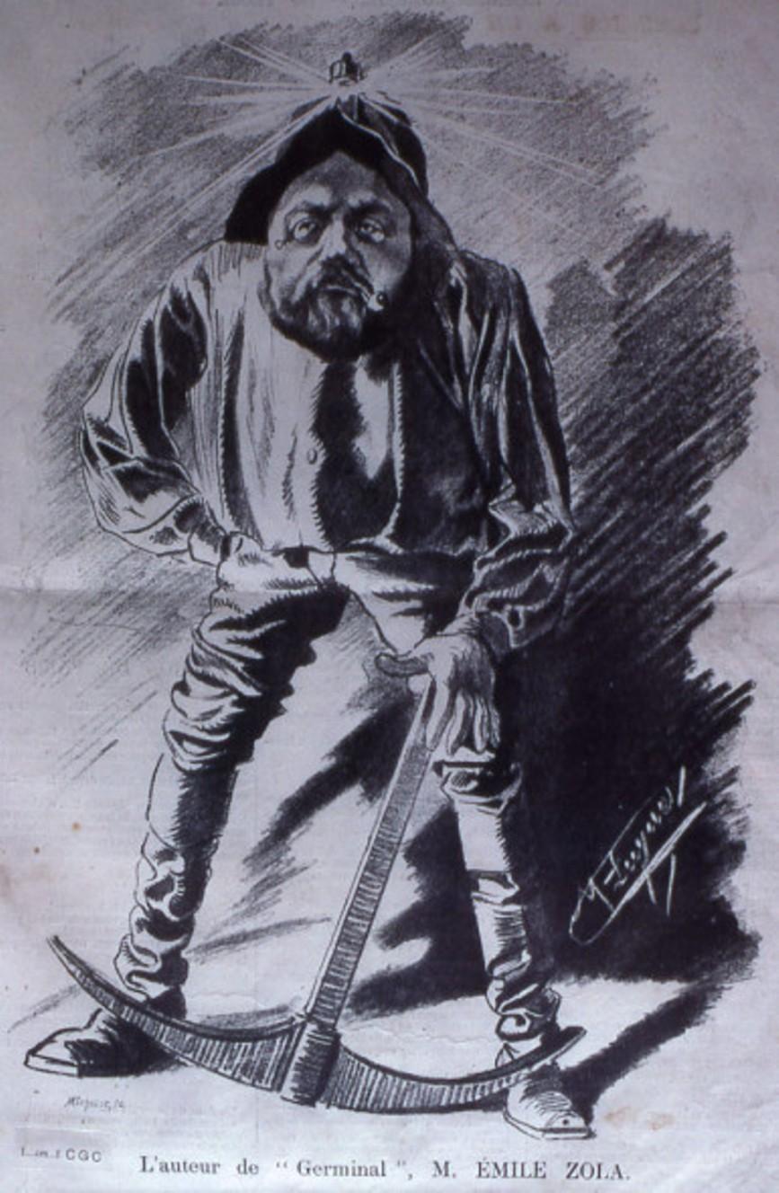 """Image - L'auteur de <em>Germinal</em>"""" /></a></p> </div><h3>Commentaires</h3><p>Emile Zola est ici représenté en mineur, à l'occasion de la parution de <em>Germinal </em>(1885). L'effet comique de la caricature est rendu par l'attitude virile et absorbée de Zola.</p><h3>Auteur</h3><p>Manuel Luque (1854-?)</p><h3>Date</h3><p>1885</p><h3>Origine</h3><p><em>La Caricature</em>, 28 avril 1885 ; Musée Carnavalet - Fonds Céard</p><h3>Mots-clés</h3><ul class="""