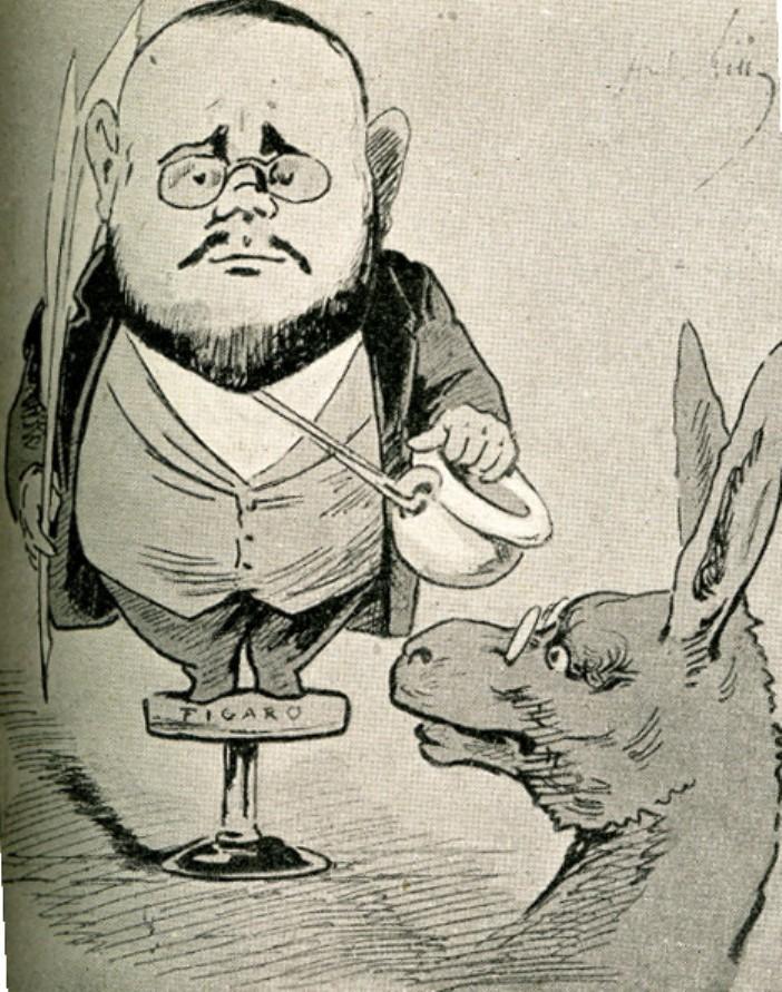 """Image - Les lundis du <em>Figaro </em>ou le naturalisme empaillé par lui-même"""" /></a></p> </div><h3>Commentaires</h3><p>Sur cette caricature on retrouve l'association récurente de Zola avec l'âne ainsi qu'avec le pot de chambre. Autant de charges raillant le naturalisme. Ici Zola est représenté juché sur un tabouret sur lequel est inscrit """"Figaro"""", visant ainsi les articles que Zola publiait tous les lundis dans ce journal entre 1880 et 1881. Ces articles furent réunis dans un volume intitulé <em>Une campagne</em>.</p><h3>Auteur</h3><p>André Gill (1840-1885)</p><h3>Date</h3><p>25 novembre 1881</p><h3>Origine</h3><p><em>La Mascarade</em>, 25 novembre 1881</p><h3>Mots-clés</h3><ul class="""