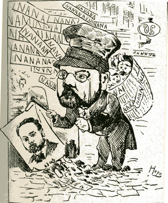 """Image - Emile Zola et <em>Nana</em>"""" /></a></p> </div><h3>Commentaires</h3><p>Une fois de plus, sur ce portrait-charge, Zola est montré sous les traits d'un chiffonnier ramassant """"le document humain"""". Mais cette fois le document humain est centré autour de <em>Nana </em>et de Zola qui ramasse sa propre image pour la mettre dans sa hotte : attaque directe à son besoin de publicité.La caricature est accompagnée du texte suivant :""""Depuis quelques années,il se fait grand tapage autour du nom d'Emile Zola ; ce tapage réjouit fort l'écrivain tellement assoiffé de renommée qu'il n'a pas hésité à abandonner ses amis et à renier ses opinions pour entrer au <em>Figaro</em>, où il se livre à un perpétuel dénigrement de tous ceux que le public aime ou vénère..."""" (<em>Les Biographies contemporaines</em>, n° 2)</p><h3>Auteur</h3><p>Léon Hope (1847-1885)</p><h3>Date</h3><p>1880-1881</p><h3>Origine</h3><p><em>Les Biographies contemporaines</em>, n°2</p><h3>Mots-clés</h3><ul class="""