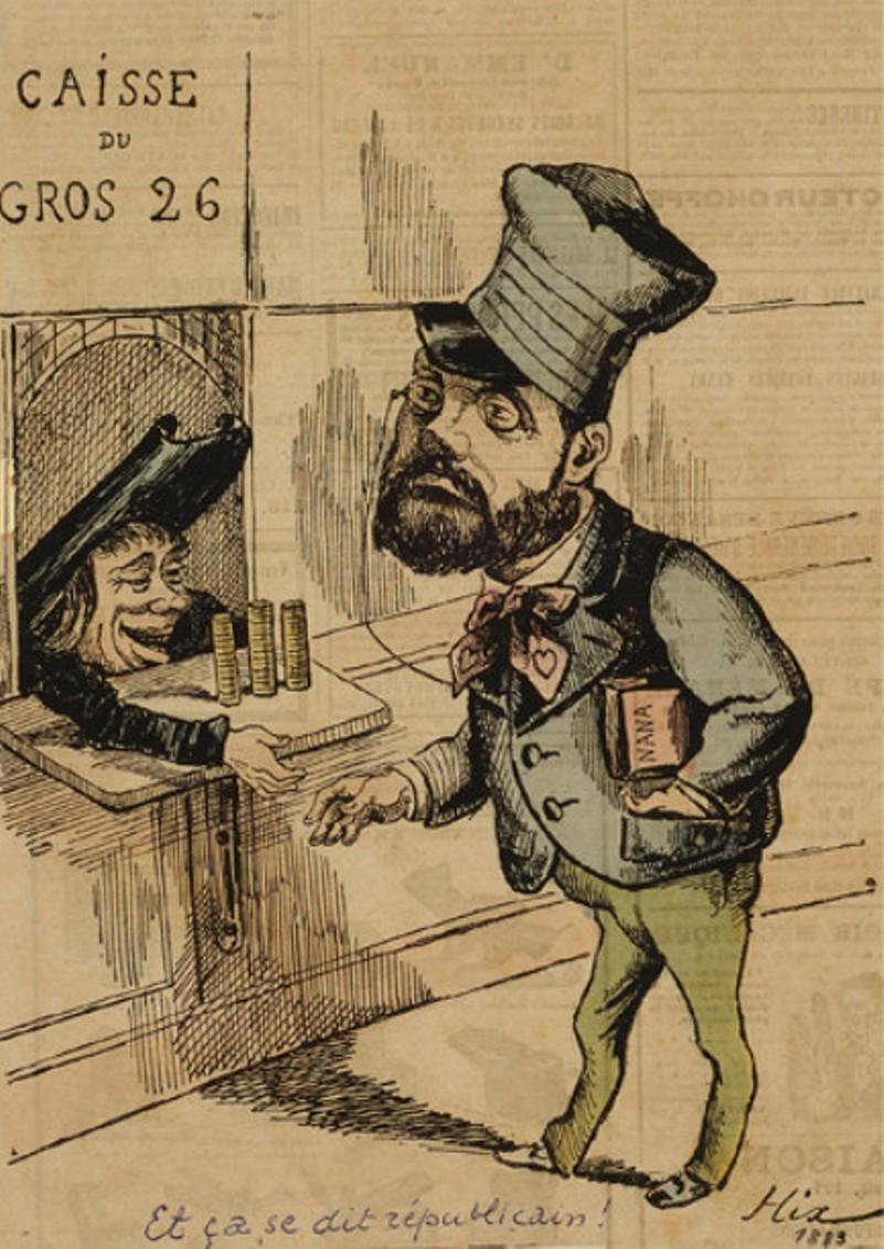 """Image - Emile Zola au <em>Figaro</em>"""" /></a></p> </div><h3>Commentaires</h3><p>Emile Zola fait son entrée au <em>Figaro </em>en 1880, pour une campagne d'une année. Le dessin porte la légende suivante :Emile Zola au <em>Figaro </em>: """"Et ça se dit républicain !""""</p><h3>Auteur</h3><p>Hix</p><h3>Date</h3><p>1881</p><h3>Origine</h3><p><em>Le Grelot</em>, 1881</p><h3>Mots-clés</h3><ul class="""