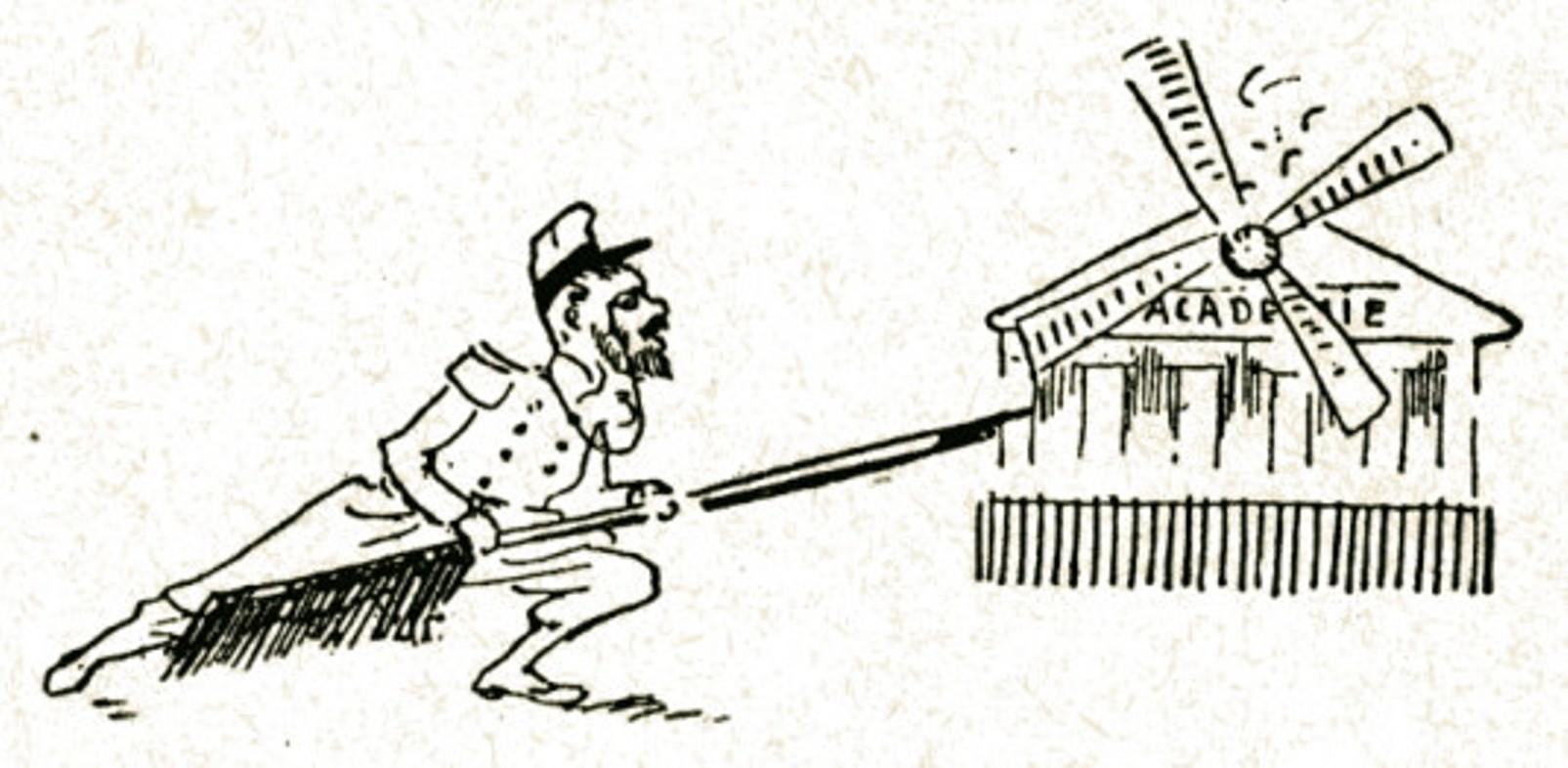 """Image - <em>L'Attaque du moulin</em> et l'Académie française"""" /></a></p> </div><h3>Commentaires</h3><p><em>L'Attaque du moulin</em> est un opéra d'Alfred Bruneau, sur un livret de Louis Gallet, d'après la nouvelles de Zola, parue dans <em>Les Soirées de Médan</em>. Le drame lyrique est créé le 23 novembre 1893 à l'Opéra-Comique. Le dessinateur fait ici allusion à cet opéra ainsi qu'aux tentatives de Zola de se faire élire à l'Académie française, sorte de citadelle imprenable.</p><h3>Auteur</h3><p>Maurice Marais (1852-1898)</p><h3>Date</h3><p>1894</p><h3>Mots-clés</h3><ul class="""