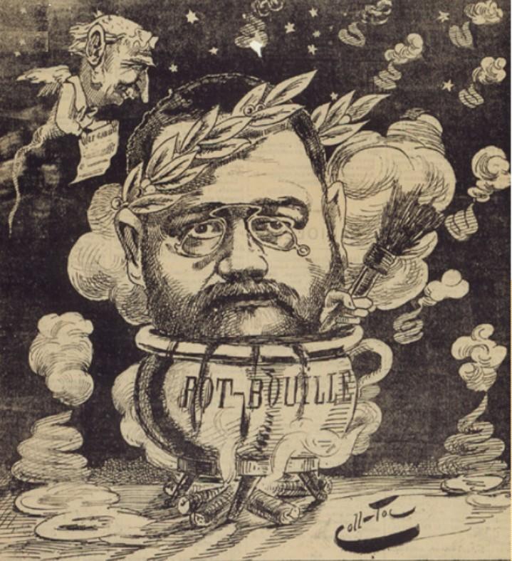 """Image - <em>Pot-Bouille</em>"""" /></a></p> </div><h3>Commentaires</h3><p>Zola cuit dans un Pot-Bouille, la tête ceinte de lauriers alors qu'un têtard ailé lui apporte <em>Le Gaulois</em>. Cette caricature introduit une chronique qui dénonce le prix élevé auquel l'écrivain a vendu <em>Pot-Bouille</em> au <em>Gaulois</em>.</p><h3>Auteur</h3><p>Coll-Toc (Collignon et Tocqueville, dit)</p><h3>Date</h3><p>26 janvier 1882</p><h3>Origine</h3><p><em>L'Esprit gaulois</em>, 26 janvier 1882 ; Musée Carnavalet - Fonds Céard</p><h3>Mots-clés</h3><ul class="""