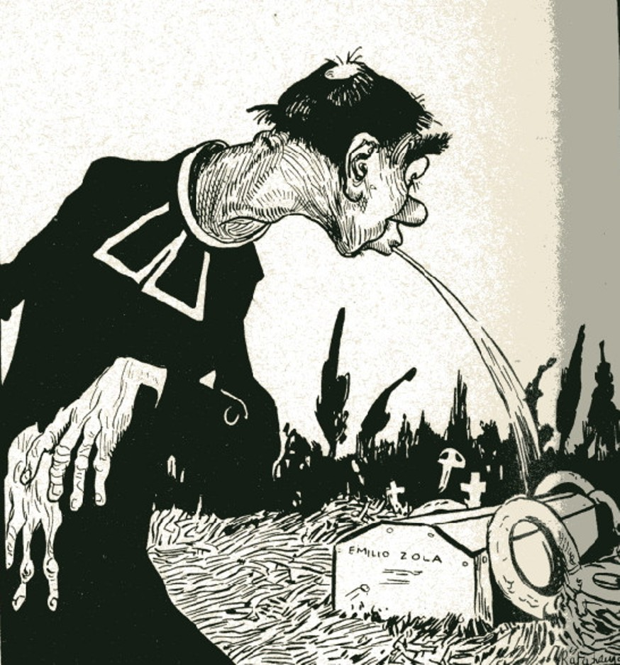 Image - Un prêtre crache sur la tombe de Zola