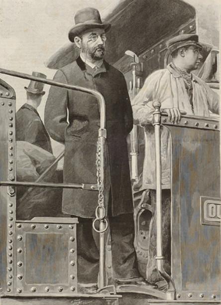 Image - Emile Zola sur une locomotive