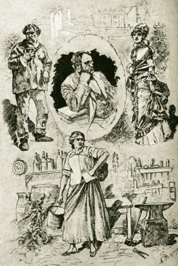 """Image - Emile Zola entouré des principaux personnages de<em> L'Assommoir</em>"""" /></a></p> </div><h3>Commentaires</h3><p>Cette composition fut exécutée au moment des représentations de <em>L'Assommoir </em>au Théâtre de l'Ambigu, à partir du 18 janvier 1879. Zola est ici entouré de Gervaise, Coupeau et Nana.</p><h3>Auteur</h3><p>Victor Poirson (1858-...)</p><h3>Date</h3><p>1879</p><h3>Origine</h3><p><em>Le Monde illustré</em>, 1879</p><h3>Mots-clés</h3><ul class="""