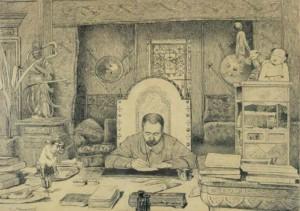 gravure 640 Zola à son bureau par Desmoulin