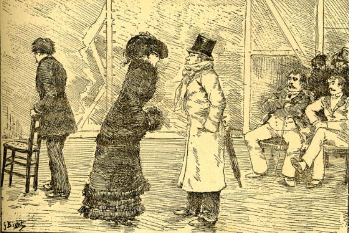 """Image - Répétition de la<em> Petite Duchesse</em> aux Variétés"""" /></a></p> </div><h3>Commentaires</h3><p>On répétait aux Variétés la Petite Duchesse. Le premier acte venait d'être débrouillé, et l'on allait commencer le second. A l'avant-scène, dans de vieux fauteuils, Fauchery et Bordenave discutaient, tandis que le souffleur, le père Cossard, un petit bossu, assis sur une chaise de paille, feuilletait le manuscrit, un crayon aux lèvres."""" (Emile Zola, <em>Nana</em>, Chapitre IX)Illustration située à la page 263 de l'édition <em>ne varietur</em>.</p><h3>Auteur</h3><p>Georges Bigot</p><h3>Date</h3><p>1882</p><h3>Origine</h3><p>Centre Zola</p><h3>Mots-clés</h3><ul class="""