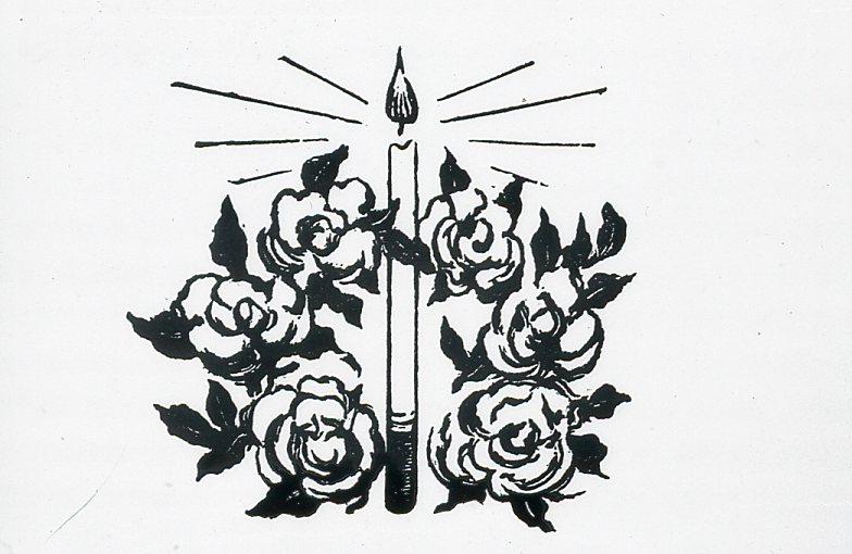 Image - Un cierge entouré de roses