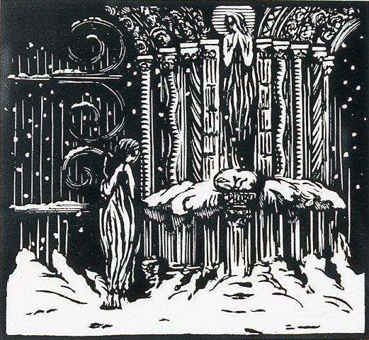 Image - Angélique devant la statue de Sainte Agnès