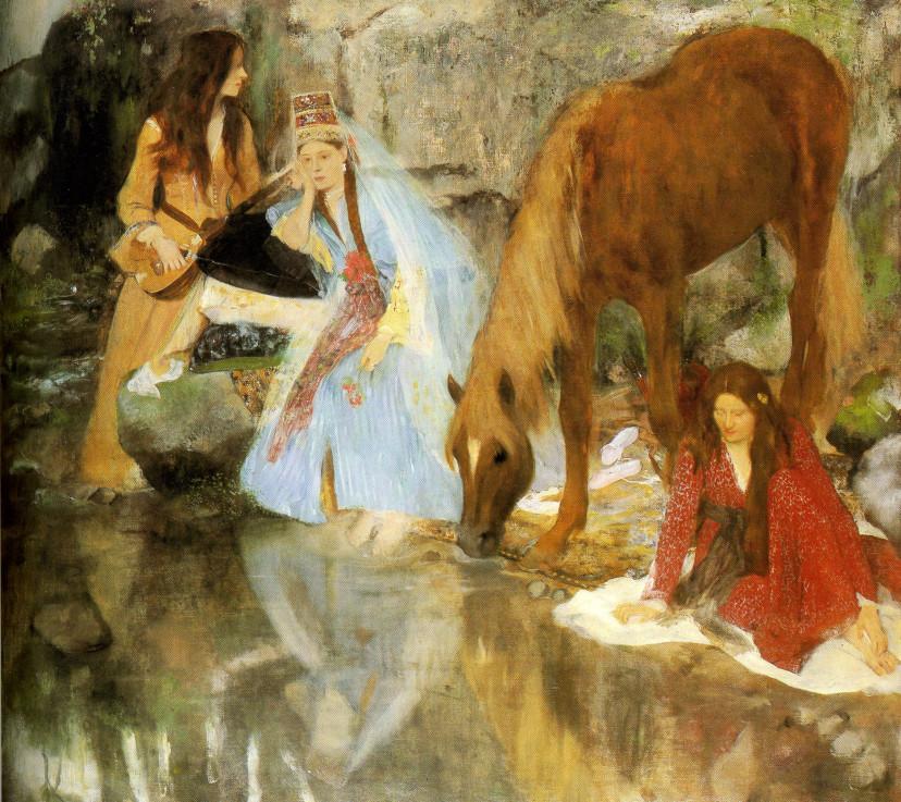 """Image - Portrait de Mlle E.F. à propos du ballet de la <em>Source</em>"""" /></a></p> </div><h3>Commentaires</h3><p>Ce tableau eut peu d'échos au Salon de 1868. Seul Zola dans l'article qu'il écrivit pour <em>L'Evénement illustré</em> sur la peinture au Salon (9 juin 1868), sous le titre """"Quelques bonnes toiles"""", trace quelques lignes élogieuses :""""C'est encore une page observée et très fine que celle d'Edgar Degas : <em>Portrait de Mlle E. F... à propos du ballet de la</em> <em>Source</em>. J'aurais préféré intituler ce tableau : Une halte au bord de l'eau. Trois femmes sont groupées sur une rive ; un cheval boit à côté d'elles. La robe du cheval est magnifique, et les toilettes des femmes sont traitées avec une grande délicatesse. Il y a des reflets exquis dans la rivière. En regardant cette peinture, qui est un peu mince et qui a des élégances étranges, je songeais à ces gravures japonaises, si artistiques, dans la simplicité de leurs tons"""". (Emile Zola, <em>Mon Salon, 1868</em>)</p><h3>Auteur</h3><p>Edgar Degas (1834-1917)</p><h3>Date</h3><p>1867-1868</p><h3>Origine</h3><p>New-York, The Brooklyn Museum</p><h3>Mots-clés</h3><ul class="""