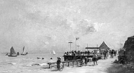 Image - Villerville, élégantes sur la plage