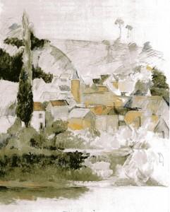 peinture 789 Médan par Cézanne