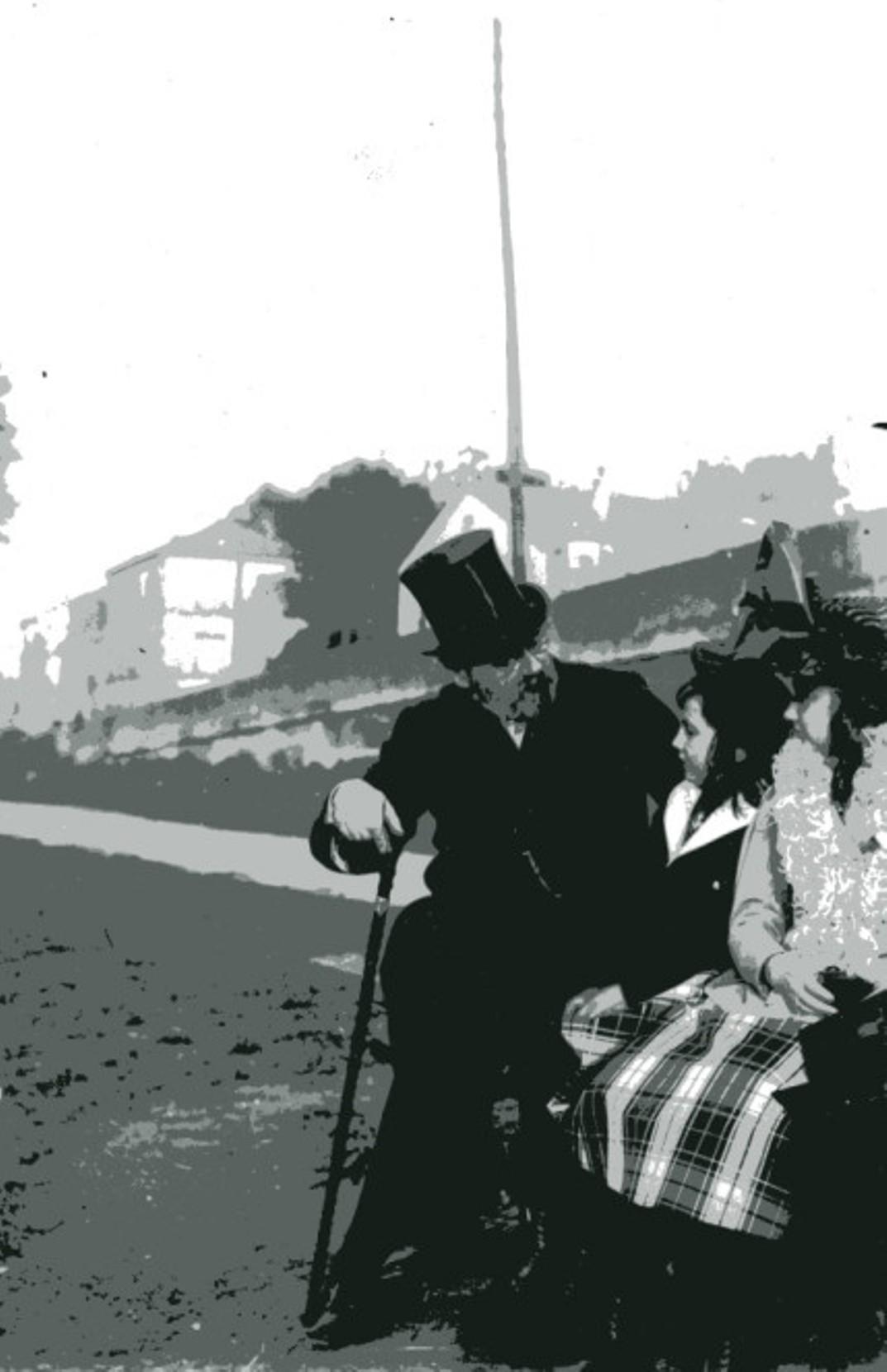 Image - Emile Zola et les enfants assis sur un banc