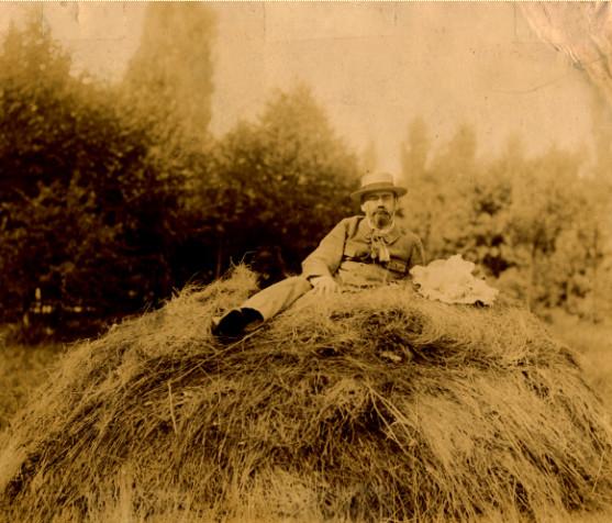Image - Zola sur une meule de foin, à Médan