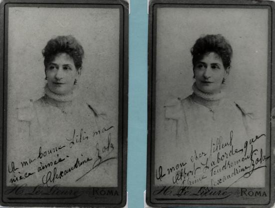 Image - Deux portraits dédicacés d'Alexandrine Zola